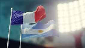 3D Illustration. Two national flags waving on wind. Night stadium. Championship 2018. Soccer. France versus Argentina. 3D Illustration. Two flags waving on wind Stock Image