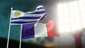 3D Illustration. Two national flags waving on wind. Night stadium. Championship 2018. Soccer. France versus Uruguay. 3D Illustration. Two flags waving on wind Royalty Free Stock Photo