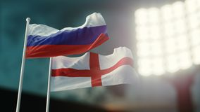 3D Illustration. Two national flags waving on wind. Night stadium. Championship 2018. Soccer. Russia versus England. 3D Illustration. Two flags waving on wind Royalty Free Stock Photo