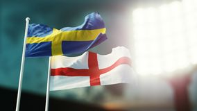 3D Illustration. Two national flags waving on wind. Night stadium. Championship 2018. Soccer. Sweden versus England. 3D Illustration. Two flags waving on wind Royalty Free Stock Photo