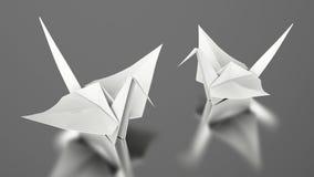 3D illustration two paper white origami bird Royalty Free Stock Photos