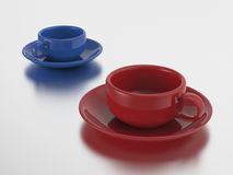 3D illustration two red and blue cups and saucers. With reflection Stock Image