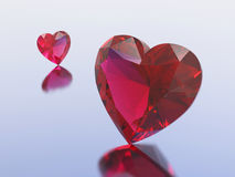 3D illustration two red diamonds hearts. On a blue background royalty free illustration
