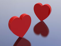 3D illustration two red hearts Stock Images
