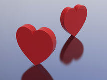 3D illustration two red hearts Royalty Free Stock Photography