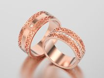 3D illustration two rose gold decorative wedding bands carved ou. T rings with ornament on a gray background Stock Photo