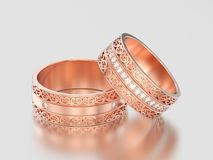 3D illustration two rose gold decorative wedding bands carved ou. T rings with ornament on a gray background Stock Photography