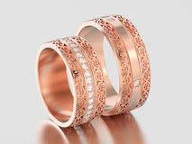 3D illustration two rose gold decorative wedding bands carved ou. T rings with ornament on a gray background Royalty Free Stock Images