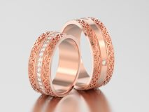 3D illustration two rose gold decorative wedding bands carved ou. T rings with ornament on a gray background Royalty Free Stock Photography