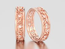 3D illustration two rose gold matching couples wedding diamond r. Ings bands on a gray background Stock Images