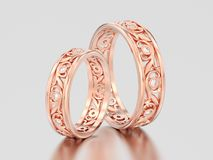 3D illustration two rose gold matching couples wedding diamond r. Ings bands on a gray background Stock Photos