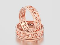 3D illustration two rose gold matching couples wedding diamond r. Ings bands on a gray background Royalty Free Stock Photography
