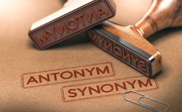 Semantics, opposite words antonym and synonym. Linguistics Conce. 3D illustration of two rubber stamps withe the text antonym and synonym. Linguistics and Royalty Free Stock Photography