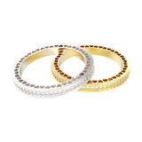 3D illustration two  silver and gold eternity band ring Stock Photo