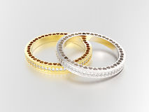 3D illustration two silver and gold eternity band rings   Stock Images