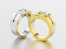 3D illustration two silver and gold men signet diamond rings   Royalty Free Stock Image