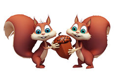 Two Squirrel holding nuts and seeds Royalty Free Stock Photography