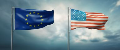 Two state flags of the european union and the united states of america, facing each other and moving in the win. 3d illustration of two state flags of the royalty free illustration