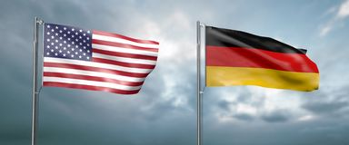 Two state flags of the united states of america and germany, facing each other and moving in the wind in front of. 3d illustration two state flags of the united vector illustration