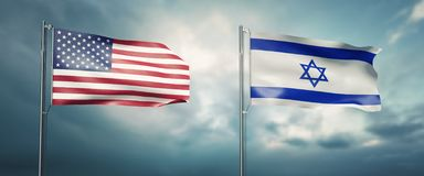 Two state flags of the united states of america and israel, facing each other and moving in the wind in front of c. 3d illustration two state flags of the united stock illustration