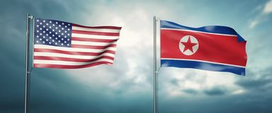 3d illustration two state of the united states of america and north korea, facing each other and moving in the wind in front of cl vector illustration