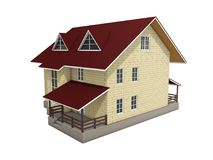 3d illustration of a two-storey cottage house. Color. 3d modeling Stock Image