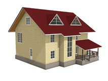3d illustration of a two-storey cottage house. Color. View 2. 3d modeling Royalty Free Stock Photo