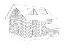 3d illustration of a two-storey cottage house. Line drawing. Walls from blocks. 3d modeling Stock Photos