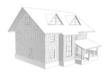 3d illustration of a two-storey cottage house. Linear and tonal drawing. Walls from blocks. 3d modeling Royalty Free Stock Images