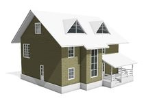 3d illustration of a two-storey cottage house. Walls from blocks are highlighted in color. 3d modeling Stock Photography