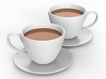 3D illustration two white cups and saucers with tea coffee. On a white background Royalty Free Stock Photography