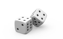 3d illustration of two white dice Royalty Free Stock Image