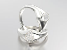 3D illustration two white gold or silver diamonds rings with ref Royalty Free Stock Photo