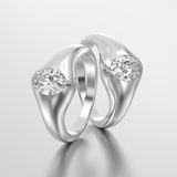 3D illustration two white gold or silver diamonds rings Stock Photography