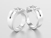 3D illustration two white gold or silver men signet diamond ring Stock Photography