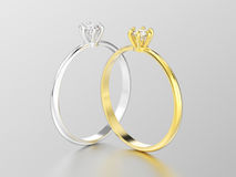 3D illustration two white gold or silver and yellow gold traditi Stock Photography