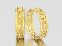 3D illustration two yellow gold decorative wedding bands carved. Out diamond rings with ornament on a gray background Stock Image