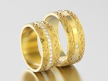3D illustration two yellow gold decorative wedding bands carved. Out rings with ornament on a gray background Royalty Free Stock Photo