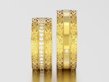 3D illustration two yellow gold decorative wedding bands carved. Out rings with ornament on a gray background Stock Image