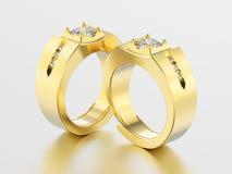 3D illustration two yellow gold men signet diamond rings   Royalty Free Stock Photos