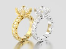 3D illustration two yellow and white gold or silver channel prin. Cess cut diamond engagement decorative rings on a gray background Royalty Free Stock Photos