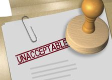 UNACCEPTABLE - approval concept. 3D illustration of UNACCEPTABLE stamp title on business document or contract Stock Photo