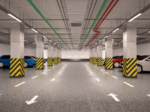3d illustration of underground parking Royalty Free Stock Photography
