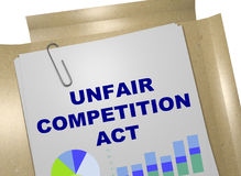 Unfair Competition Act concept. 3D illustration of UNFAIR COMPETITION ACT title on document Royalty Free Stock Photo