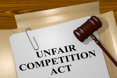 Unfair Competition Act concept. 3D illustration of UNFAIR COMPETITION ACT title on legal document Royalty Free Stock Photography