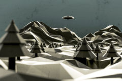3d illustration of an unidentified flying object low poly Stock Photo