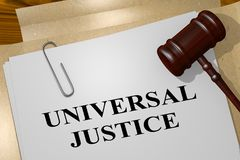 UNIVERSAL JUSTICE concept. 3D illustration of UNIVERSAL JUSTICE title on legal document Stock Photography
