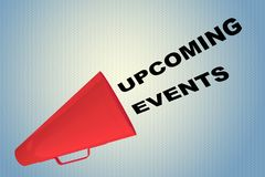 UPCOMING EVENTS concept. 3D illustration of UPCOMING EVENTS title flowing from a loudspeaker Stock Image