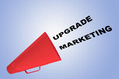 Upgrade Marketing concept. 3D illustration of UPGRADE MARKETING title flowing from a loudspeaker Royalty Free Stock Images