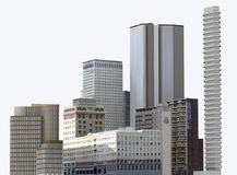 Urban buildings and skyscrapers isolated on white background. 3d illustration royalty free illustration